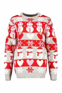 Womens Fairisle Christmas Snowman Jumper - crystal - M, Crystal