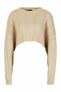 Womens Box Cropped Knitted Cable Jumper - beige - L, Beige