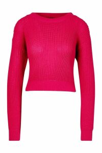 Womens Crop Fisherman Jumper - pink - M, Pink