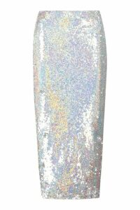Womens Holographic Sequin Long Line Midi Skirt - Grey - 12, Grey