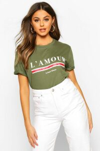 Womens L'amour Slogan T-Shirt - green - L, Green