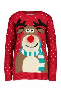Womens Pom Pom Reindeer Christmas Jumper - red - M/L, Red