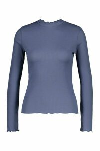 Womens Petite Lettuce Hem roll/polo neck Top - dusty blue - 14, Dusty Blue