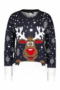 Womens Reindeer Christmas Jumper - navy - M/L, Navy