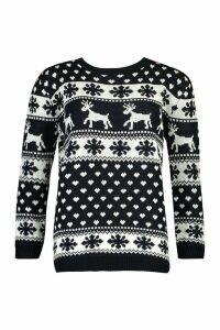 Womens Reindeers & Snowflake Christmas Jumper - navy - M/L, Navy