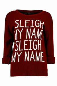 Womens Sleigh My Name Slogan Christmas Jumper - red - M/L, Red