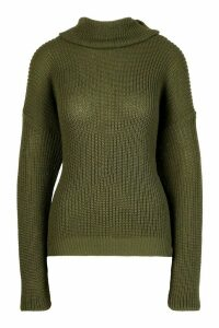 Womens Fisherman Roll Neck Jumper - green - M/L, Green