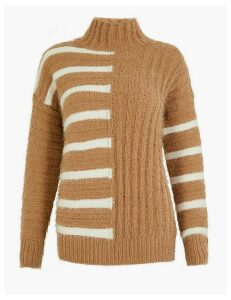 M&S Collection Striped Turtle Neck Relaxed Fit Jumper