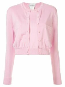 Chanel Pre-Owned cropped knitted cardigan and top set - PINK