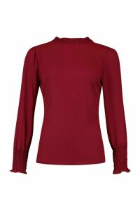 Womens Sheered High Neck & Cuff Blouse - 12, Red