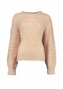 Womens Balloon Sleeve Marl Mix Jumper - beige - XS, Beige