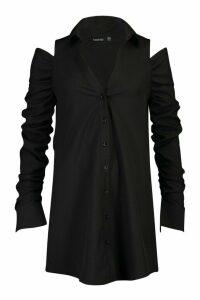 Womens Cold Shoulder Ruched Sleeve Shirt Dress - black - 12, Black