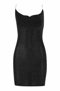 Womens Petite Cowl Neck Glitter Fabric Mini Dress - black - 14, Black