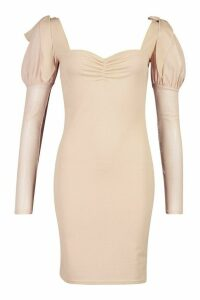 Womens Bow Shoulder Mesh Sleeve Bodycon - Beige - 6, Beige