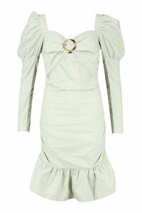 Womens Ruched Sweetheart Volume Sleeve Mini Dress - Green - 12, Green