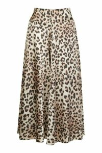 Womens Leopard Satin Print Flared Culottes - multi - 14, Multi