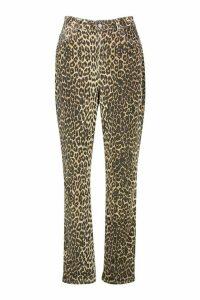 Womens Leopard High Rise Mom Jean - brown - 16, Brown