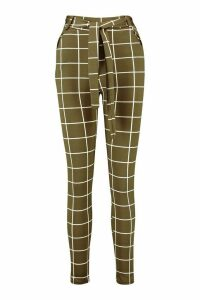 Womens Grid Check Trouser With Tie Waist - green - M/L, Green