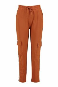 Womens Cargo Pant With Side Stripe And Pocket - brown - S/M, Brown