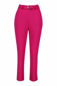 Womens Gold O Ring Belted Skiny Trousers - pink - 10, Pink