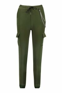 Womens Satin Luxe Utility Joggers - green - M, Green