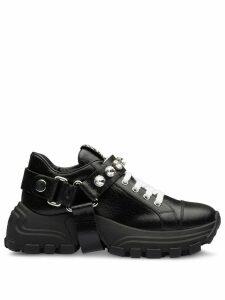 Miu Miu crystal-embellished buckle sneakers - Black