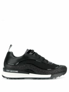 Love Moschino glittered low top sneakers - Black