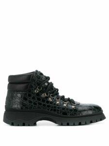 Prada textured hiking style boots - Black