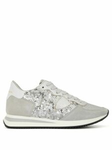 Philippe Model sequin-embellished logo trainers - SILVER