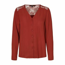 Laced V-Neck Blouse with Long Sleeves