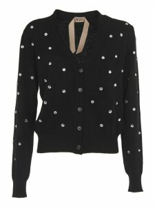 N.21 Black Cardigan With Crystal