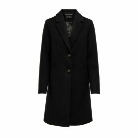 Long Straight Tailored Collar Coat with Single-Breasted Buttons