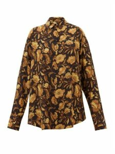 Matteau - Oversized Floral-print Silk Shirt - Womens - Yellow Print