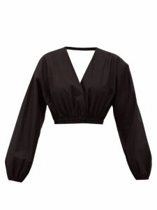 Matteau - Open-back Cropped Cotton Blouse - Womens - Black