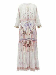 Camilla - Tanami Road Split-front Tiered-hem Silk Maxi Dress - Womens - White Multi