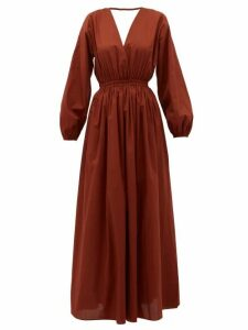 Matteau - Backless Balloon-sleeved Cotton-poplin Maxidress - Womens - Dark Red