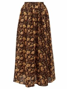 Matteau - High-rise Floral-print Cotton Maxi Skirt - Womens - Yellow Print