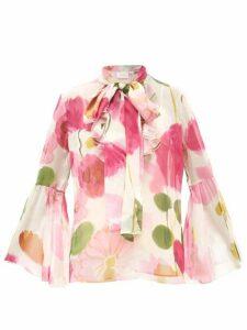 La DoubleJ - Carmen Floral-print Silk-chiffon Blouse - Womens - White Print