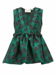 La Doublej - Casati Peplum Satin-jacquard Top - Womens - Green Print