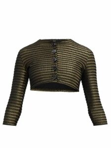 Lisa Marie Fernandez - Cropped Lamé-cloqué Cover-up Cardigan - Womens - Black Gold