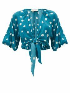 Adriana Degreas - Polka-dot Tie-front Silk Top - Womens - Blue Print
