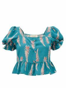 Adriana Degreas - Aloe-print Square-neck Silk-crepe Top - Womens - Blue Print