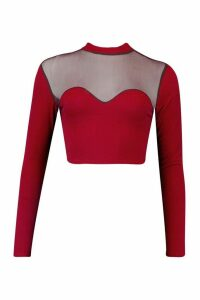 Womens Mesh Bodice Long Sleeve Crop Top - red - 6, Red