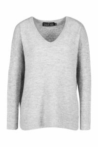 Womens V Neck Slouch Jumper - White - M, White