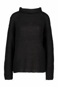 Womens Loose Roll Neck Jumper - black - XS, Black