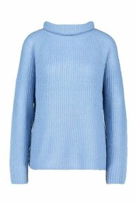 Womens Loose Roll Neck Jumper - blue - M, Blue