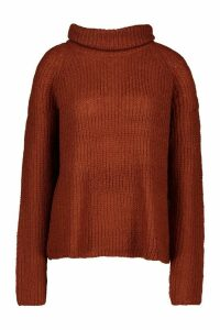 Womens Loose Roll Neck Jumper - brown - S, Brown
