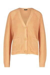 Womens Lightweight Fisherman Rib Cardigan With Pockets - beige - XS, Beige