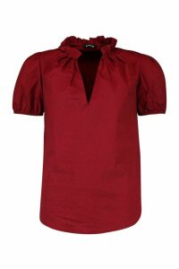 Womens High Neck Puff Sleeve Top - red - 8, Red