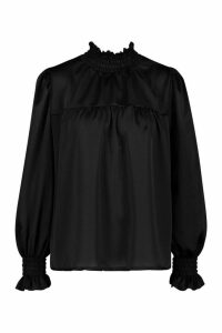 Womens Satin High Neck Shirred Cuff Top - black - 14, Black